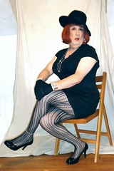 6-18-8 (prettysissydani) Tags: black hat tshirt tights skirt crossdressing redhead gloves mysexylegs