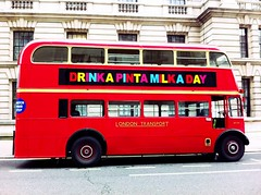 Drinkapintamilkaday (gilesbooth) Tags: bus london milk routemaster whitehall londonbus londontransport drinkapintamilkaday