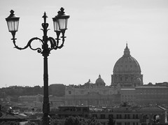 Rome - St Peter's skyline (phil_king) Tags: city italy white black vatican rome roma monochrome st skyline san view basilica lamppost dome peters pietro borghese
