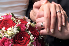 Wedding Celebrations (Nicki Ki) Tags: pink flowers wedding red white silver gold hands acrylic marriage diamond celebration bands rings nails his bouquet hers