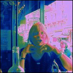 Oh, No !!! Not the neck !!! LOL !!! (Pifou 2010) Tags: street pink blue light portrait paris france art colors rose fun restaurant friend couleurs montmartre bleu lumiere natasha rues rires amie laughters 2013 gerardbeaulieu pifou2010 ohnonotthenecklol