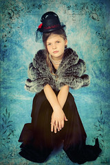 In Blues (MissSmile) Tags: color girl vintage fur kid pretty child sad artistic memories blues retro tired textured misssmile