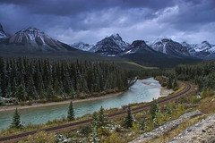 Snow at Morant's Curve (Jackpicks) Tags: snow canada fall river alberta banffnationalpark morantscurve bestcapturesaoi mygearandme mygearandmepremium mygearandmebronze