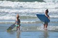Violet & Sophie Boogie Boarding (Joe Shlabotnik) Tags: ocean beach sophie violet boogieboard higginsbeach 2013 july2013