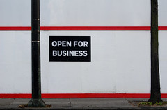 open for business (dotintime) Tags: tree sign construction open utility pole business meganlane dotintime
