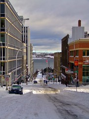Downtown Skiers (evanlochem) Tags: november autumn winter snow canada storm cold fall nova downtown wind snowstorm blowing scotia halifax heavy blizzard drifting noreaster