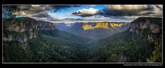 Govetts Leap & Narrowneck Dusk, Blue Mountains, Pano 02 (Gary Hayes) Tags: sunset sydney australia bluemountains valley grosevalley megalong govettsleap narrowneck