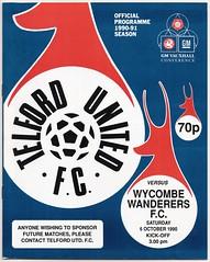 TELFORD UNITED v WYCOMBE WANDERERS (GMVC) 1990-91 (bullfield) Tags: telfordunited wycombewanderers