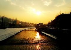 Sarajevo dusk (black one7) Tags: city winter sunset sky urban orange snow black river dusk sarajevo bosnia samsung galaxy herzegovina hercegovina bosna miljacka siii skenderija mygearandme one7 blackone7
