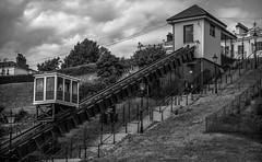 Southend Cliff Railway (faranorclarke) Tags: uk bw tourism mono nikon lift elevator transport railway cable seafront essex southend lightroom southendonsea cablelift d90 southendcliffrailway