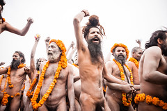 During Kumbh Mela pilgrimage 2013, Allahabad, India (David Ducoin) Tags: portrait orange india flower naked asia crowd pilgrimage pilgrim naga mela allahabad kumbhmela kumbh 2013 nagababa