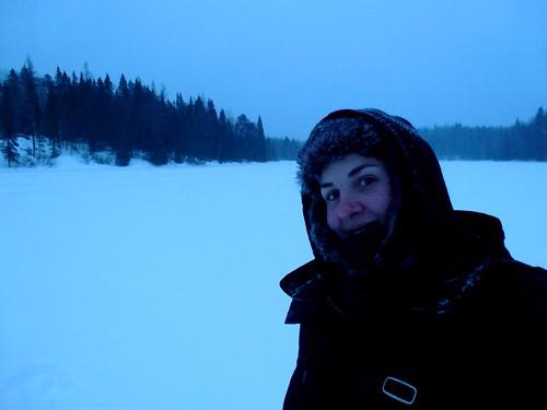 Promenade sur un lac gelé, Lanaudière, Québec
