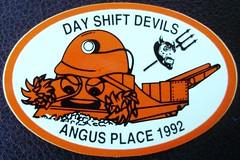 1992 ANGUS PLACE DAY SHIFT DEVILS (Trawler68) Tags: underground utah sticker mine place angus joy mining sump bhp shearer moura