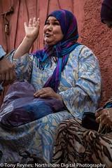 At Medina in Marrakech #14 (Tony Reynes) Tags: morning woman smiling morocco arab marrakech souk medina animated 2014