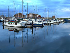 Scenes From Hartlepool Marina - 4 (Tony Worrall Foto) Tags: county uk england reflection wet water weather clouds marina docks dark boats spring nice sailing tour harbour north scenic stormy visit scene location sail serene docked northeast attraction afloat shimmer hartlepool wetreflection hartlepoolmarina hartlepooldocks 2014tonyworrall