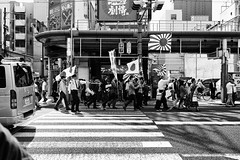 Demonstration,  Clothilde BL/Lost In Transition (Lost In Transition Project) Tags: street city urban blackandwhite bw japan photography noiretblanc nb demonstration osaka politic nationalism lightroom risingsunflag silverefex fujix100
