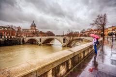 Rome in the rain (Nejdet Duzen) Tags: trip travel winter italy rome roma reflection rain river cloudy tiber historical k italya nehir yansma seyahat yamur tarihi bulutlu