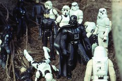 Darth Vader's arrival (Macroworlder) Tags: star joe darth empire scouts biker kenner wars vader gi hasbro stromtroopers