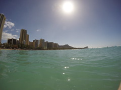 First day of using the GoPro - Waikiki (erintheredmc) Tags: ocean from travel pink blue trees winter vacation holiday beach water skyline silver photography volcano hawaii islands big paradise day waves skies break escape pacific waikiki oahu erin head 4 rocky sunny palace tourist palm diamond wanderlust hero surfboard diamondhead hawaiian hyatt honolulu hotels had february resorts edition 7th mccormack 2015 gopro hero4