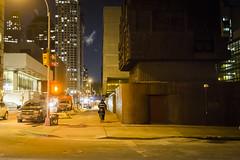 The Inequity of the Coldest Night (wwward0) Tags: street nyc winter newyork cold night trafficlight cyclist traffic unitedstates outdoor manhattan freezing pizza cc sidewalk illegal delivery upperwestside crosswalk uws 66thst wwward0
