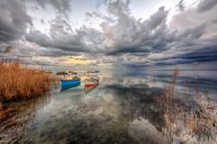 Karina Sunset (Nejdet Duzen) Tags: trip travel sunset reflection nature turkey boat fishing türkiye sandal karina günbatımı yansıma turkei seyahat aydın doğa kayık coudy söke balıkçılık bulutlu