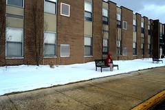 Alone (mattmulroy) Tags: street school windows red sky snow brick alone sidewalk sjv