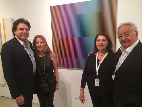 Esteban Evelio y Lorena Gomez at Durban Segnini Booth (B20) with Cesar and Sulay Segnini at the VIP opening of art Wynwood