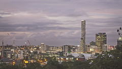 Brisbane City (Schwaco) Tags: city longexposure trees cloud color skyline clouds buildings lights construction colorful exposure cityscape skyscrapers australia brisbane cranes cloudscape brisbaneaustralia