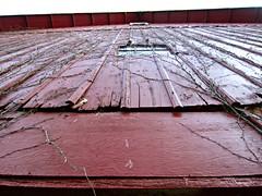 Plank-n-Vines (AmyEAnderson) Tags: wood roof red sky window up wisconsin barn vines flat historic cracks planks sauk