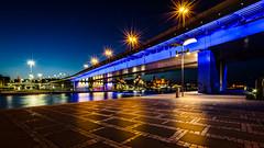 blue.bridge.Graffiti (K.H.Reichert) Tags: bridge night river graffiti nightshot poland promenade polen brcke fluss lichter szczecin infrastruktur oder stettin nachtfoto wojewdztwozachodniopomorskie