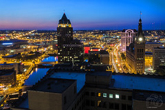MKE Dusk (CJ Schmit) Tags: longexposure nightphotography sunset urban skyline wisconsin architecture canon lowlight downtown cityscape dusk streetlights cityhall milwaukee lighttrails bluehour pac mke shutterdrag radiotowers 100east milwaukeecenter canonef1740mmf40lusm bradlycenter 1000northwater milwaukeephotographer canon5dmarkiii cjschmit 5dmarkiii wwwcjschmitcom cjschmitphotography photographerwisconsin photographermilwaukee