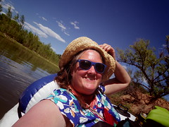 Ellen floating, May 15 (EllenJo) Tags: blue arizona me river pentax floating az verderiver digitalimage riparian sundayafternoon sunhat verdevalley clarkdale 2016 may15 riverrat photobychad tapco ellenjo ellenjoroberts springtimeinaz pentaxqs1