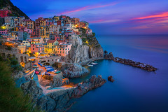 Classic Colours of Italy (albert dros) Tags: travel sunset italy tourism water town cityscape cinqueterre bluehour manarola albertdros