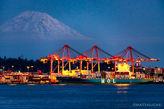 MOL Generosity (matthucke) Tags: seattle cargo mountrainier pugetsound containership harborisland portofseattle cargoship cargocranes