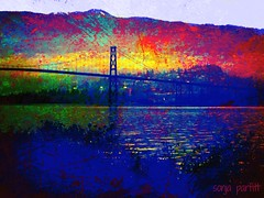 Lions gate bridge (Sonja Parfitt) Tags: mountains water manipulated layered westvan