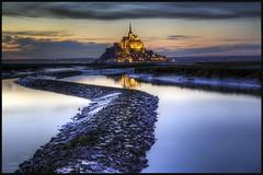 Mont Saint-Michel (Scape) Tags: blue sunset panorama cloud france abbey river de soleil tide riviere coucher hour normandie nuage normandy mont hdr manche heure maree bleue saintmichel abbaye