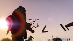A Man at His Job (QuantumLogic_VG) Tags: sun screenshot lensflare videogame gta minigun grandtheftauto pcgaming gtav