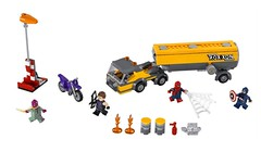 LEGO Marvel Super Heroes 76067 Tanker Truck Takedown (hello_bricks) Tags: truck airport lego spiderman battle vision camion civilwar moto hawkeye marvel captainamerica avengers 76067 marvelsavengers hellobricks