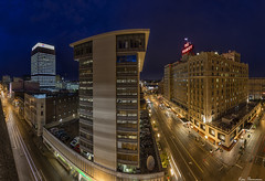 Smile your on camera... :) (Ken Thomann Photography) Tags: road lighting longexposure nightphotography panorama glass rain weather june skyline architecture night skyscraper canon buildings landscape fun concrete photography lights hotel rust iron downtown quiet traffic unitedstates tennessee steel pano gorgeous parking ducks peaceful bank wideangle oldbuildings midtown explore holidayinn nightsky lighttrails peabody tranquil nightscapes parkingdeck reallyrightstuff deepsouth memphistn canon6d canon1635mmf28lii outinnature kenthomannphotography