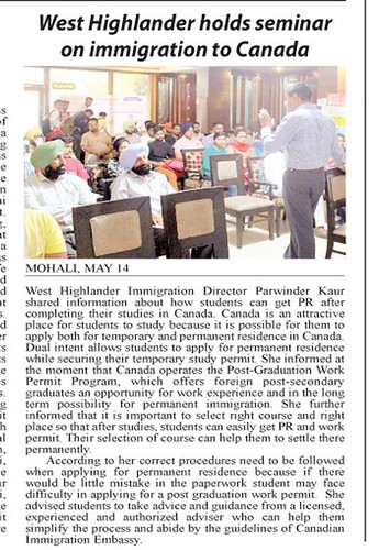 Yugmarg Newspaper reported news about seminar on Immigration to Canada organized by West Highlander Immigration consultancy Services Pvt. Ltd. Chandigarh