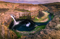 Palouse Falls (www.kjc.photos) Tags: sunset nature river landscape waterfall washington desert scenic wideangle falls cliffs hdr palouse