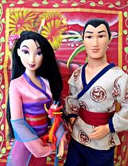 Mulan & Shang (honeysuckle jasmine) Tags: dolls princess barbie disney sparkling mattel shang mulan mushu