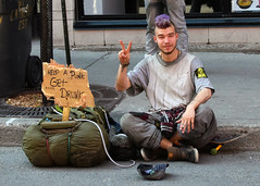 Someone In Need (Simon Leblanc_) Tags: street city urban youth drunk photography punk quebec montreal style alcohol sdf