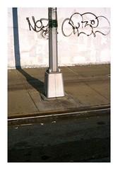 (Michael Raymond Lund) Tags: street new york city nyc light shadow urban ny abstract lund color slr film 35mm island photography michael long fuji slide minimal line queens fujifilm lic raymond abstraction positive fujichrome provia e6 zuiko minimalist 100f