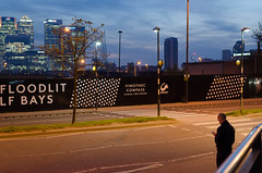 Floodlit LF bays (Bahi P) Tags: city london dusk canarywharf