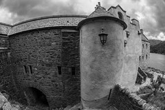 Baronial pile...... (Dafydd Penguin) Tags: castle scotland eilean donan dornie keep house loch duich alsh skye scottish west coast blackandwhite blackwhite black white monochrome bw nikon d600 nikkor 35mm af f28d fisheye