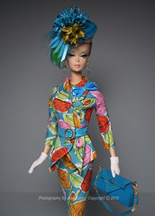 CUSTOM SUIT For A Silkie Girl (Culte De Paris) Tags: roses party summer floral hat fashion miniature doll time tea handmade ooak barbie funky suit fabric cotton blonde casual mattel galore ultrasuede silkstone