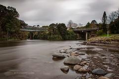 twin bridges, Upper Hutt (hueymilunz) Tags: longexposure autumn nature water clouds river season landscape nz wellington newzealandtransition