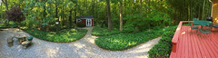My Back Yard (davidwilliamreed) Tags: back yard ivy gravel pathway barn picnic tables deck pano panorama norcrossga gwinnettcounty