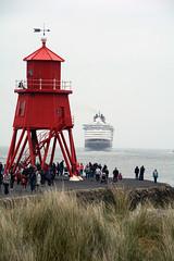 Past the red (quintinsmith_ip) Tags: sea people river fun ship down tourist disney passenger passing shipping southshields waltdisney disneymagic rivertyne